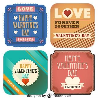 Coleção dia dos namorados de retro cartões postais