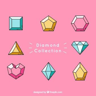 Coleção diamante com diferentes cores e desenhos