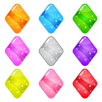 Coleção diamante de forma brilhante bonito dos desenhos animados com geléia em cores diferentes.