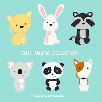 Coleção divertida de animais bonitos