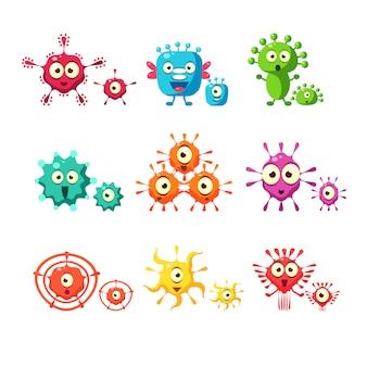Coleção divertida de bactérias e vírus