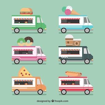 Coleção divertida de caminhões de comida lisa