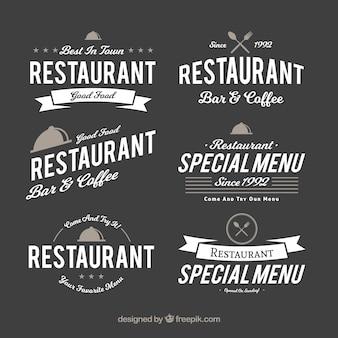 Coleção divertida de logotipos retros de restaurantes