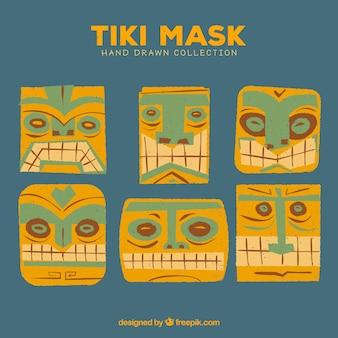 Coleção divertida de máscaras tiki desenhadas à mão