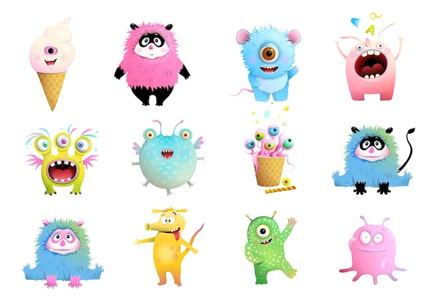 Coleção divertida de monstros de brinquedo para crianças coleção de clipart de criaturas e monstros imaginários