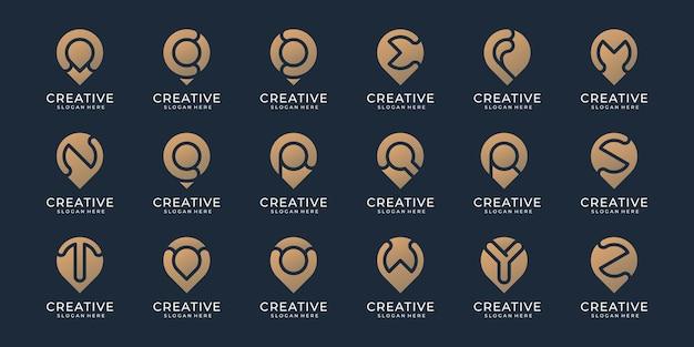 Coleção do alfabeto a - z com logotipo do espaço negativo do marcador do pino de localização. design para empresa de negócios. vetor premium