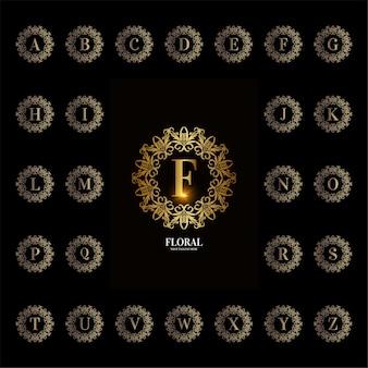 Coleção do alfabeto inicial com moldura floral de ornamento de luxo