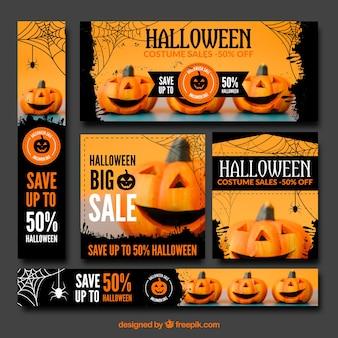Coleção do banner de venda de halloween