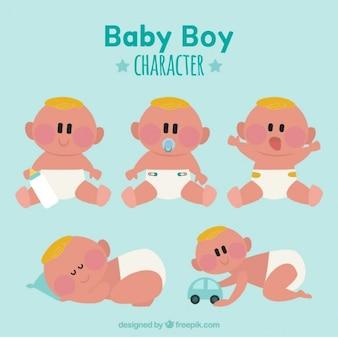 Coleção do bebé com fralda branca