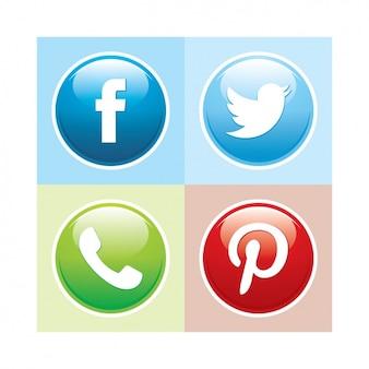 Coleção do botão de mídia social