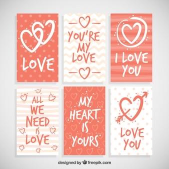 Coleção do cartão de amor com frases bonitas
