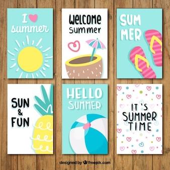 Coleção do cartão de verão agradável