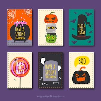 Coleção do cartão engraçado do dia das bruxas