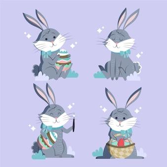 Coleção do coelhinho da páscoa desenhada à mão
