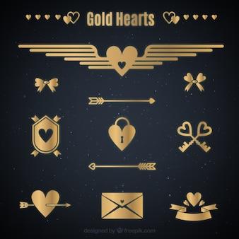 Coleção do coração de ouro plana