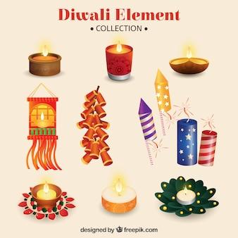 Coleção do elemento da celebração diwali