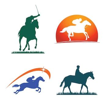 Coleção do emblema do símbolo do cavalo de corrida