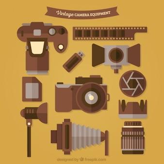 Coleção do equipamento de fotografia do vintage