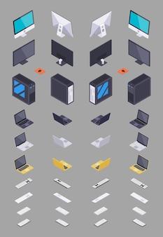 Coleção do hardware eletrônico isométrico.