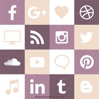 Coleção do ícone da rede social plano