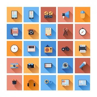 Coleção do ícone do dispositivo plana