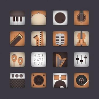Coleção do ícone do instrumento musical