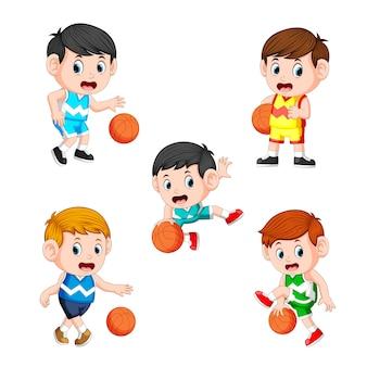 Coleção do jogador de basquete infantil