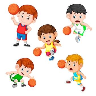 Coleção do jogador de basquete profesional crianças