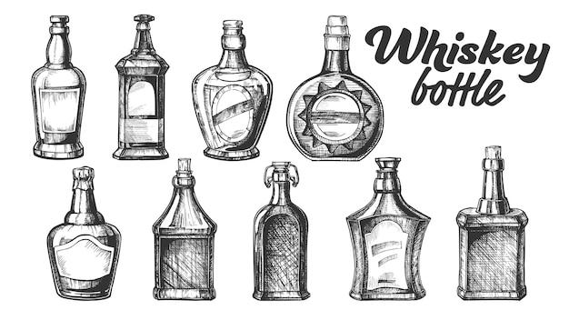Coleção do jogo do frasco de uísque escocês.