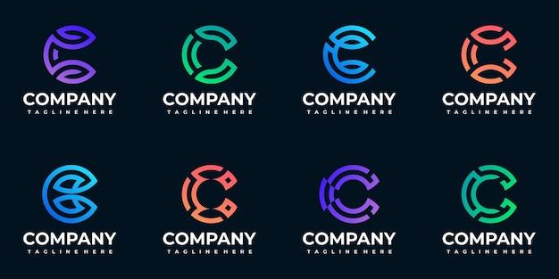 Coleção do logotipo c inicial do monograma