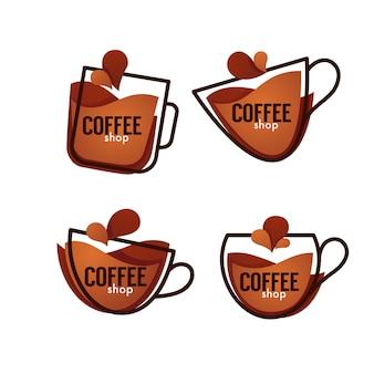 Coleção do logotipo da cafeteria