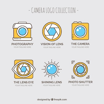 Coleção do logotipo da câmera amarela