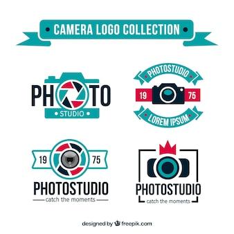 Coleção do logotipo da câmera azul