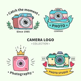 Coleção do logotipo da câmera desenhada à mão