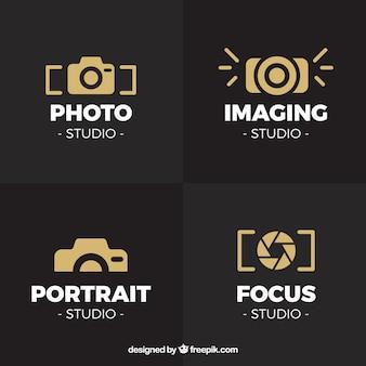 Coleção do logotipo da câmera dourada