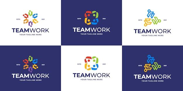 Coleção do logotipo da comunidade ou logotipo da clínica médica
