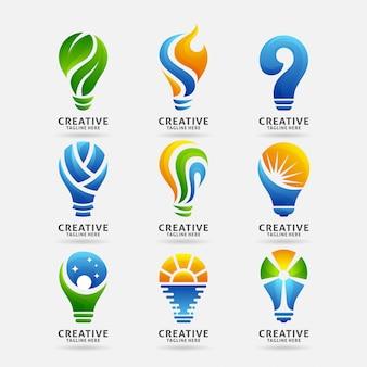 Coleção do logotipo da lâmpada criativa