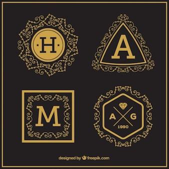 Coleção do logotipo da letra maiúscula do vintage