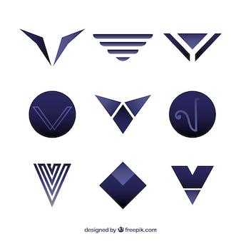 Coleção do logotipo da letra moderna v