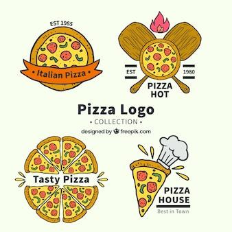 Coleção do logotipo da pizza desenhada a mão