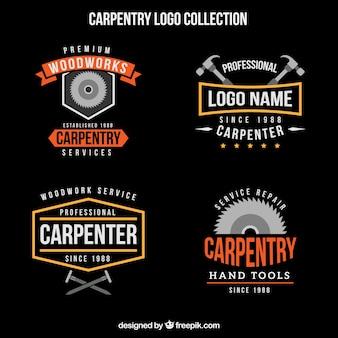 Coleção do logotipo de tratamento de madeira do vintage