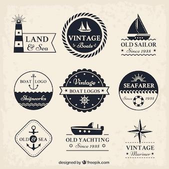 Coleção do logotipo do barco do vintage
