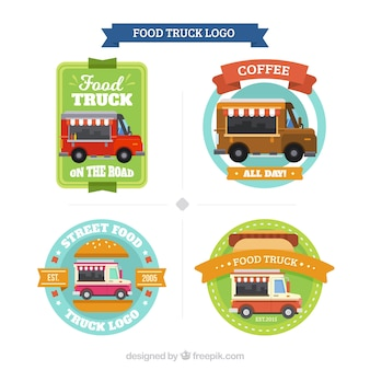 Coleção do logotipo do caminhão de comida divertida