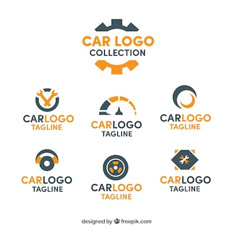 Coleção do logotipo do carro preto e laranja