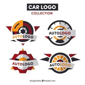 Coleção do logotipo do carro vermelho e laranja