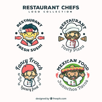 Coleção do logotipo do chef do restaurante