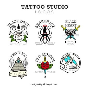 Coleção do logotipo do estúdio de tatuagem