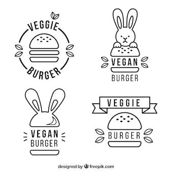 Coleção do logotipo do hamburguer do vegan