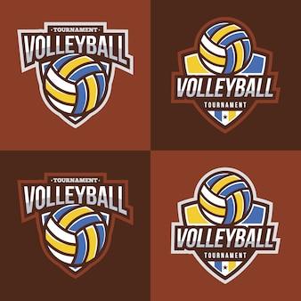 Coleção do logotipo do voleibol com fundo marrom