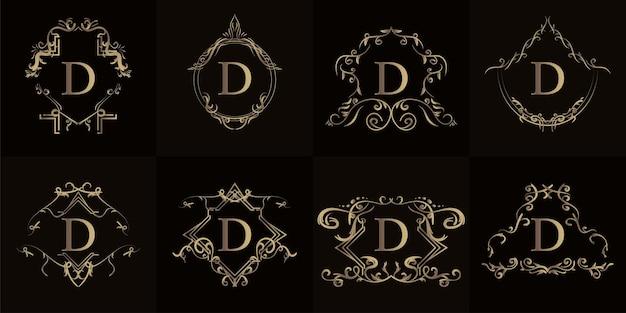 Coleção do logotipo inicial d com ornamento de luxo ou moldura de flor